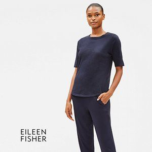 EILEEN FISHER Organic Cotton Blue Tee Medium